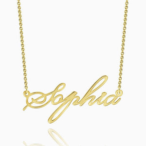 Custom Name Necklace Script 14Kt Gold Plated