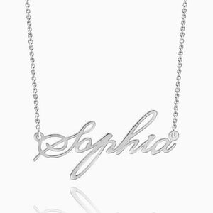 Custom Name Necklace Script Silver