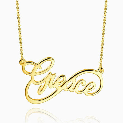 Infinity Script Name Necklace 14Kt Gold Plated