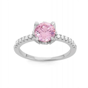 Personalized Pink Birthstone Ring, Silver