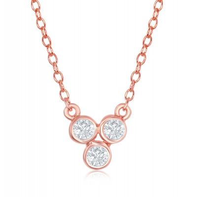 Fashion Necklace, Triple Stone Setting, 18Kt Rose Gold Plated