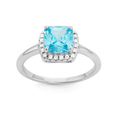 Personalized Light Blue Birthstone Ring, Silver