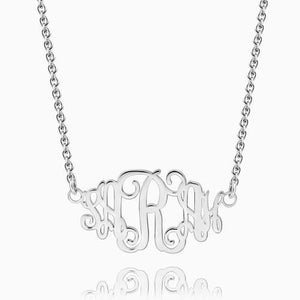 Celebrity Monogram Necklace, Silver