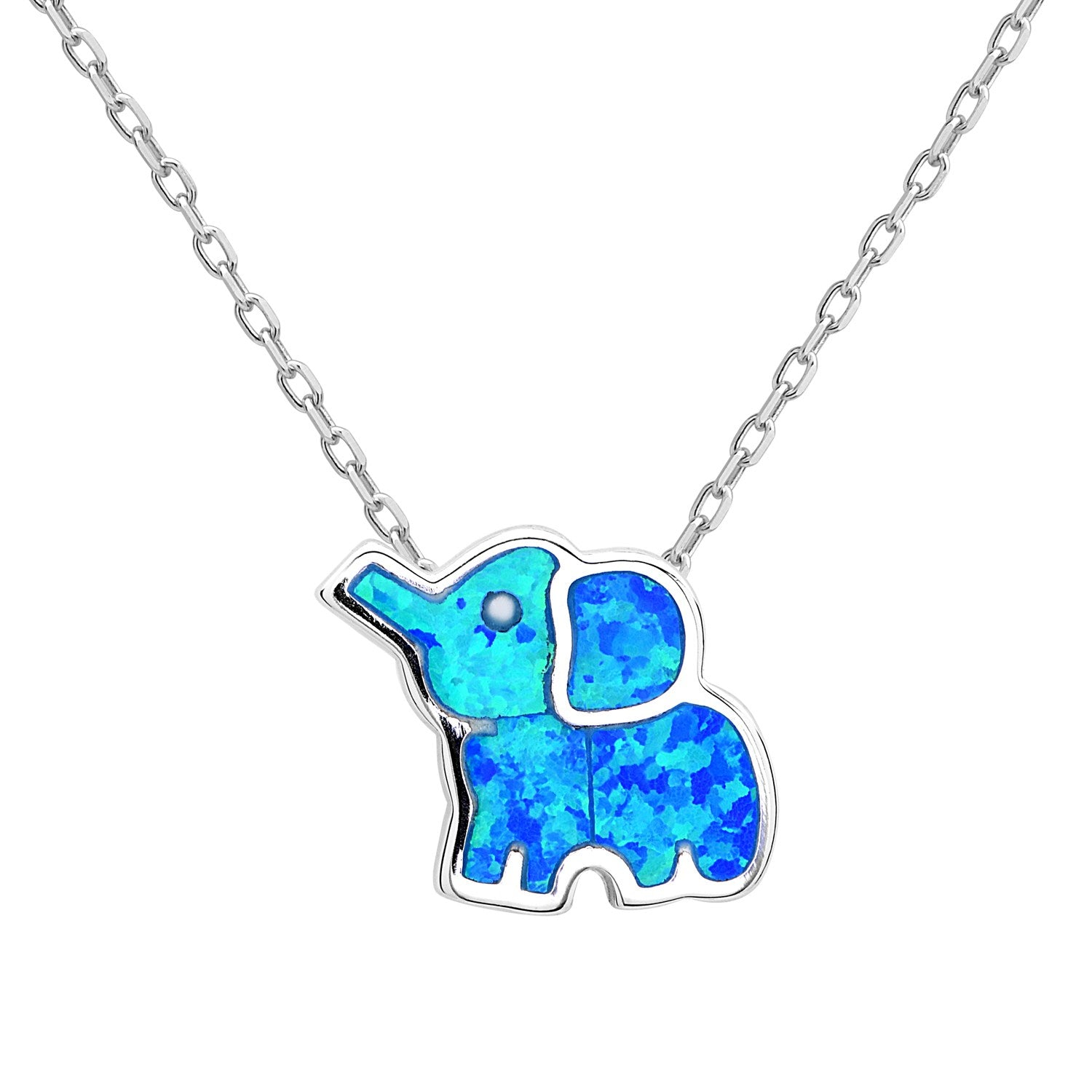 Blue Opal Elephant Necklace