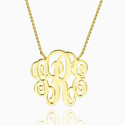 Fancy Monogram Necklace 14Kt Gold Plated