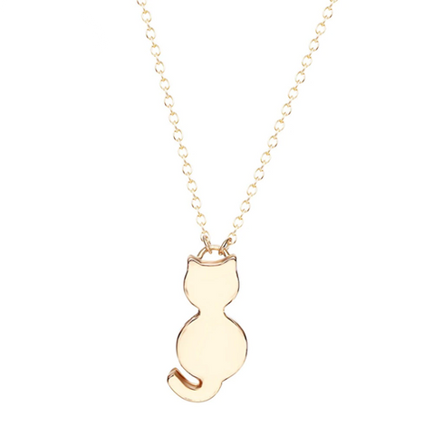 Initial Cat Necklace Gold Plated