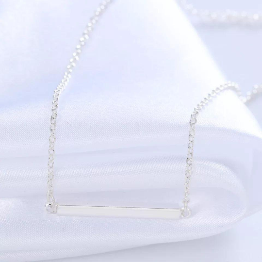 4 Sided Bar Necklace Silver