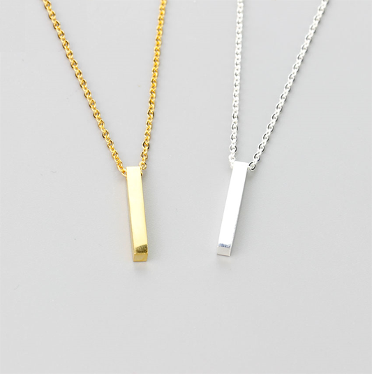 4 Sided Vertical Bar Necklace Silver