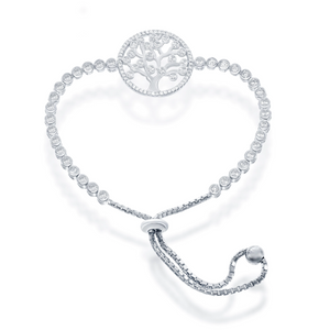 Tree Of Life Adjustable Bracelet, Silver