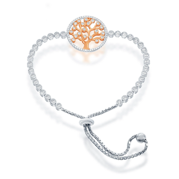 Tree Of Life Adjustable Bracelet, Rose Gold