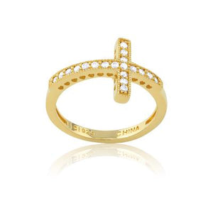Sideways Cross Ring, 14Kt Gold Plated