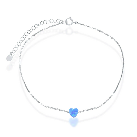 Fiery Blue Opal Heart Anklet