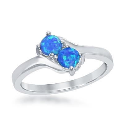Blue Opal Love Ring