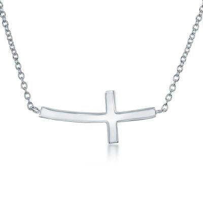 Personalized Sideways Cross Necklace Silver