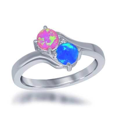 Pink and Blue Opal Love Ring