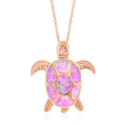 Fiery Pink Opal Turtle Necklace 18Kt Rose Gold Plated