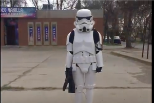 Guns Drawn in arrest of young woman dressed as Storm Trooper in Canada