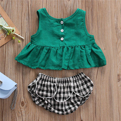 2pcs Newborn Baby Girl Sleeveless Tops+ Plaid Triangle Shorts Set