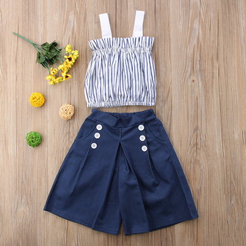 2 Piece Striped Tops T-shirt Denim Loose Jeans Pants Casual 1-6T