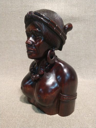 Hand-Carved Filipino Mid-Century Bust