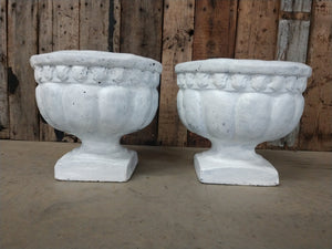 Vintage Pair of White Concrete Planters