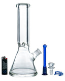 12 Thick Glass Beaker Bong With Colored Downstem
