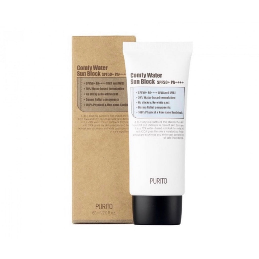 PURITO Comfy Water Sun Block (SPF50+ PA++++) 60ml - Ginger Cosmetics