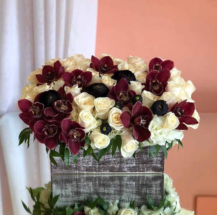Orchid and Rose Arrangement
