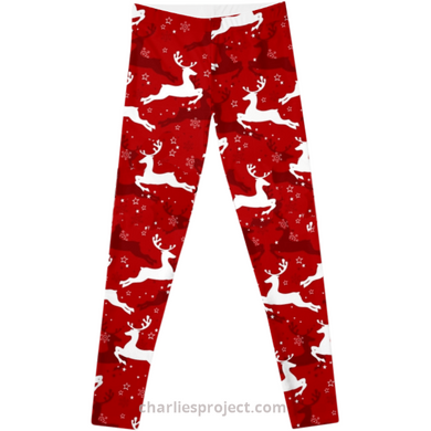 Red Reindeer  - Charlie's Project Soft Brushed 92/8 Yoga Band Leggings