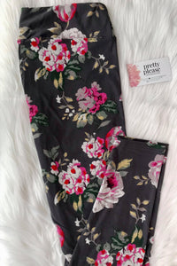 Black w/ Pink Roses Floral Super SOFT Yoga Band Leggings OS TC Charlie's Project rts
