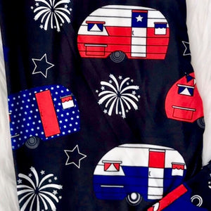 July 4th Americana Vintage Campers Capri Super SOFT Leggings OS TC