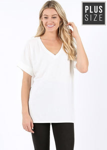 Premium Fabric Short Sleeve Relaxed Fit T-Shirt Tunic Plus & Misses rts - Pretty Please Leggings