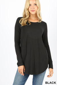 Long Sleeve Super Soft Tunic -Relaxed Fit Misses & Plus S-3X rts Black Red Mustard