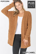Popcorn Cardigan Sweater -Cozy Teddy Bear Relaxed Fit Misses & Plus S-2X (tunic length) rts Black Camel Pink - Pretty Please Leggings