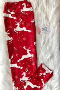 Red Reindeer Christmas SOFT Yoga Band Leggings OS TC Kids Charlie's Project rts