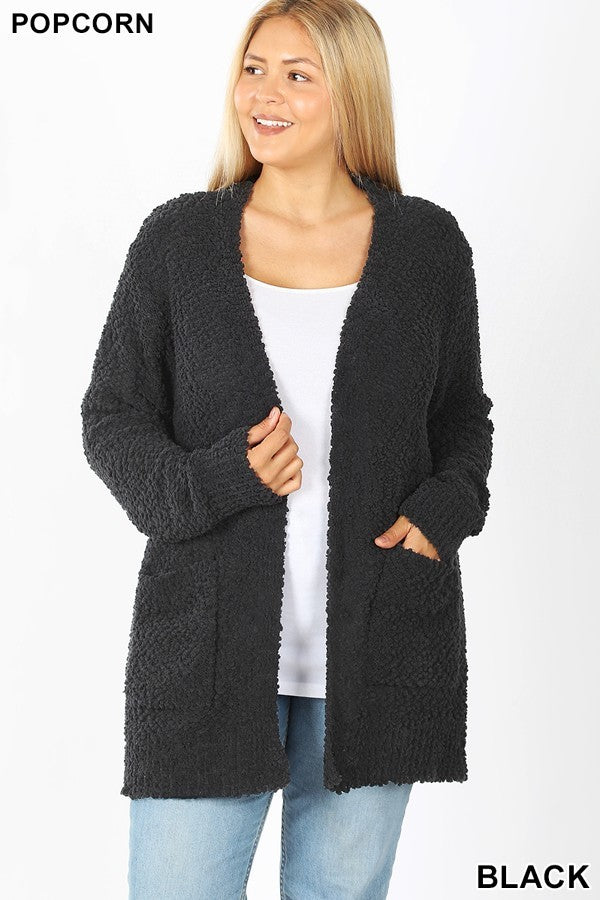 Popcorn Cardigan Sweater -Cozy Teddy Bear Relaxed Fit Misses & Plus S-2X (tunic length) rts Black Camel Pink