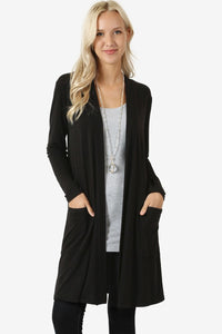 Open Front Relaxed Cardigans - Misses S-M-L (tunic length) rts