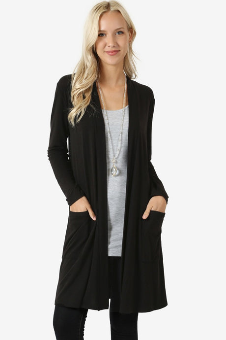 Open Front Relaxed Cardigans - Misses & Plus (tunic length) rts