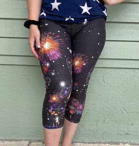 July 4th FIREWORKS SOFT Capri Leggings TC Independence Day Red White Blue rts