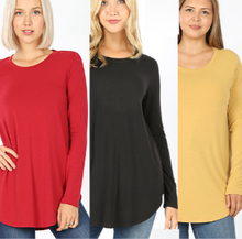 Long Sleeve Super Soft Tunic -Relaxed Fit Misses & Plus S-3X rts Black Red Mustard - Pretty Please Leggings