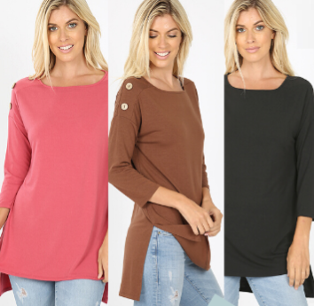 Plus Size Button Detail Side Slit Tunic -Relaxed Fit rts 1X 2X 3X Black Brown Pink