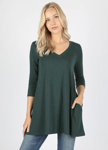 Long Flowy Relaxed Fit Tunic - Misses & Plus