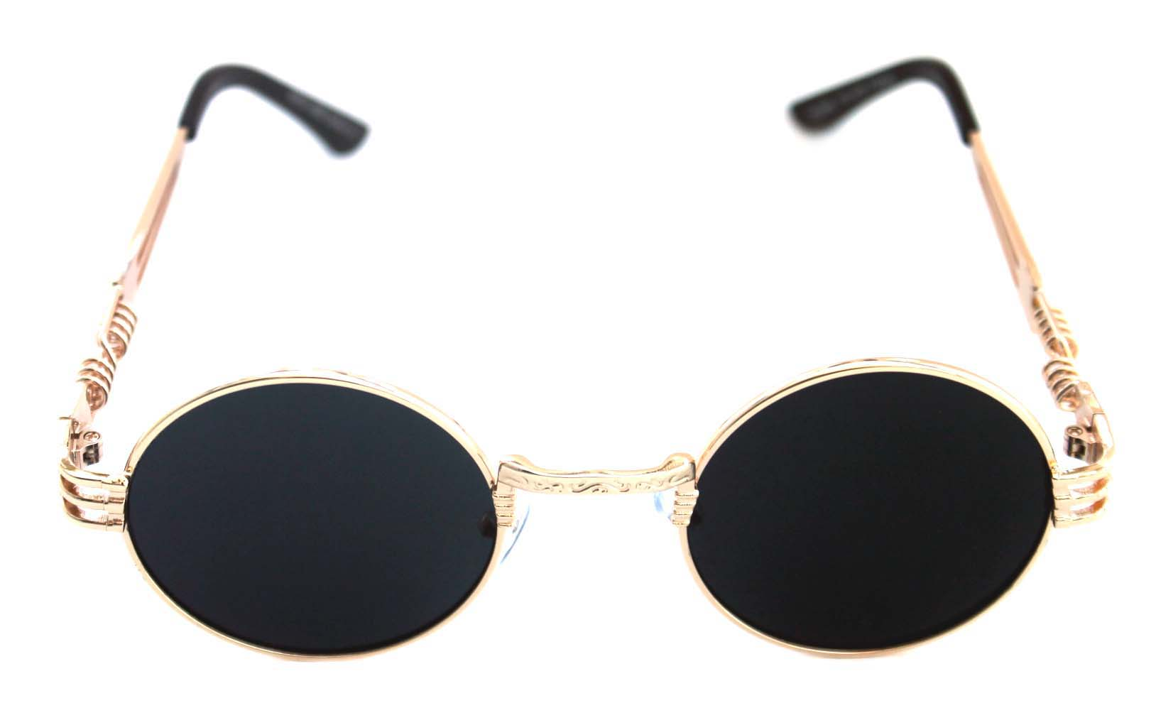 008b2eb3ccc ... Men s Women s Round Shape Bad and Boujee Hip Hop Swag Quavo Metal  Sunglasses Retro Gold Frame ...
