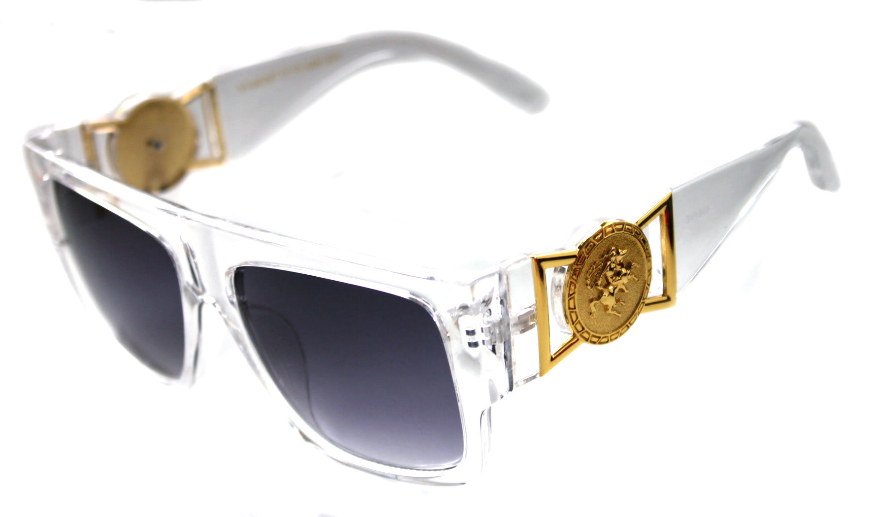 be7eba62353 ... 424 Medusa Gold Metal Logo Coin Flat Top Sunglasses Metal Retro Clear Hip  Hop ...