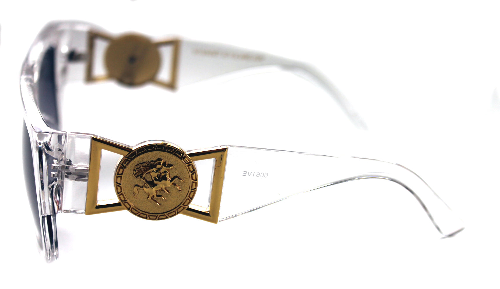 38ee48c4a06 424 Medusa Gold Metal Logo Coin Flat Top Sunglasses Metal Retro Clear Hip  Hop ...