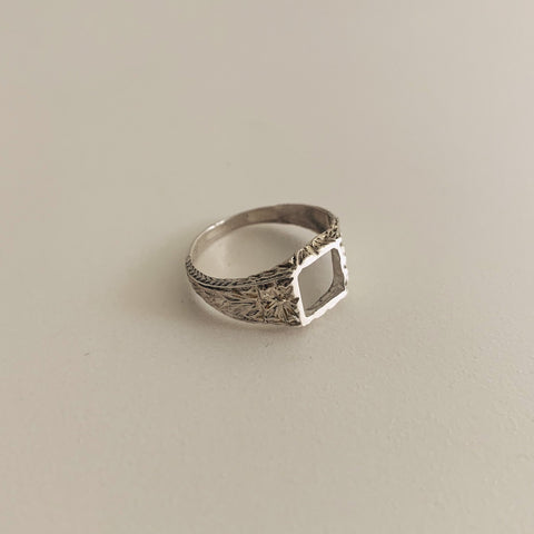 Open Floral sterling silver ring