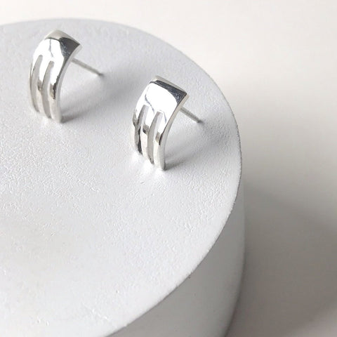 Erin Keary Solid Sterling Silver Trident Stud Earring made with Recycled Sterling Silver