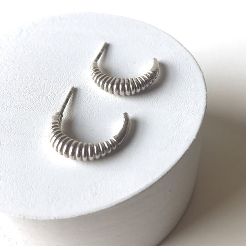 Erin Keary Sterling Silver Ribbed Crescent Earring