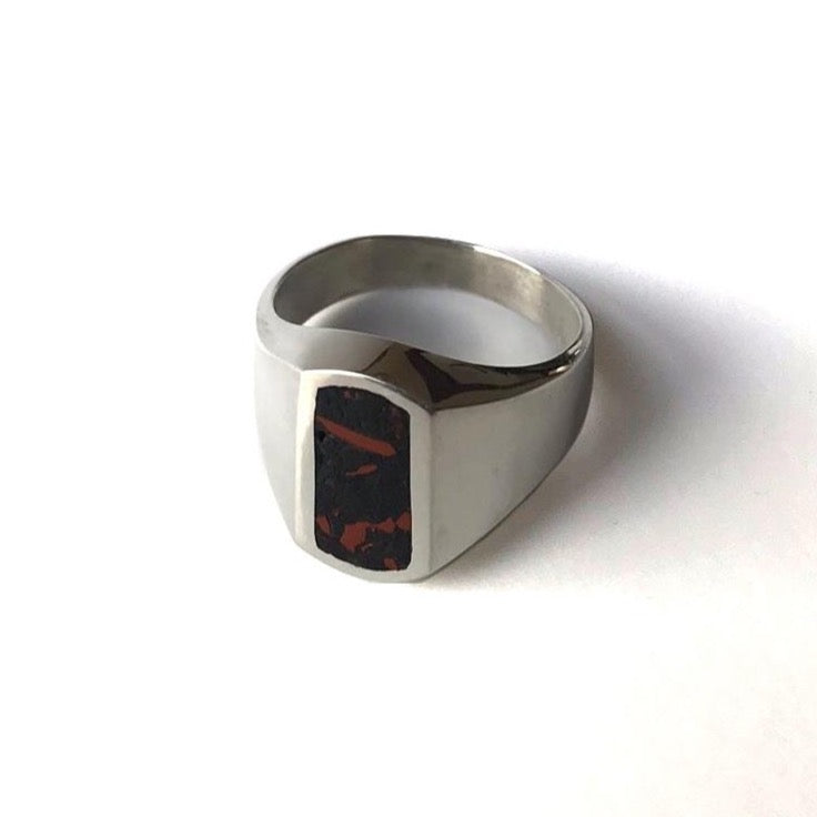 Erin Keary Sterling Silver Chip Signet Ring. Made with Stone Inlay of Oregon Red and Black Jasper