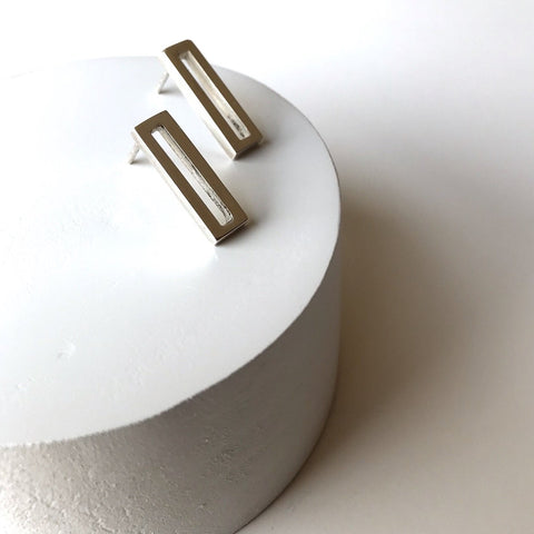 Erin Keary Chip Frame Earring made with Solid Sterling Silver